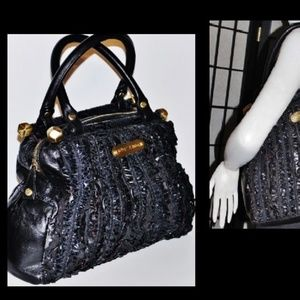 Betsey Johnson Leather Ruffle Tote Bag Purse